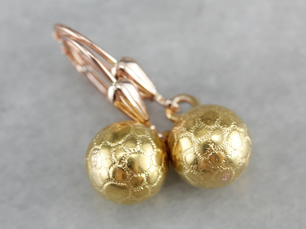 Textured Gold Drop Earrings