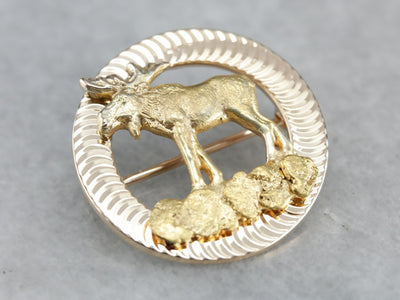 Upcycled Gold Moose Pin