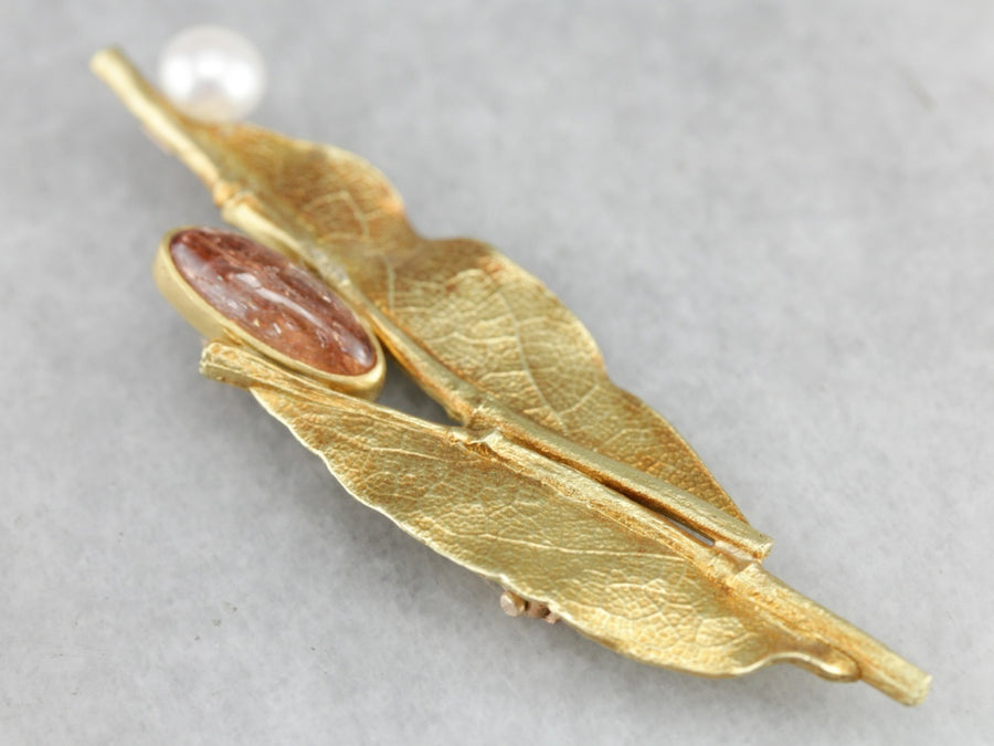 Ann Krupp Sunstone Leaf Gold Brooch