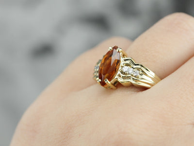 Marquise Citrine and Diamond Ring