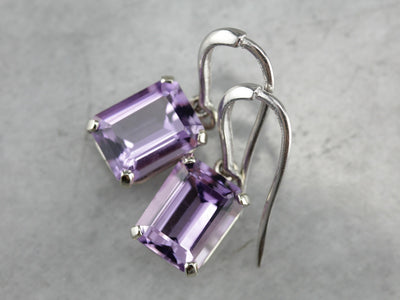 Amethyst Drop Earrings in White Gold