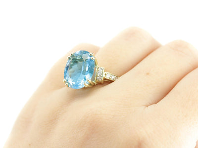 The Edie Blue Topaz Diamond Cocktail Ring by Elizabeth Henry