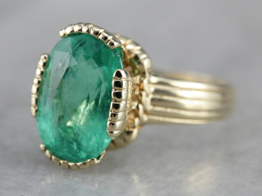 Vintage Emerald Ring in Yellow Gold