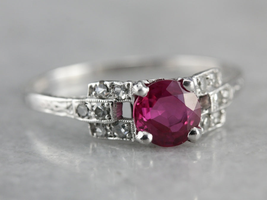 Vintage Platinum and Pink Sapphire Ring