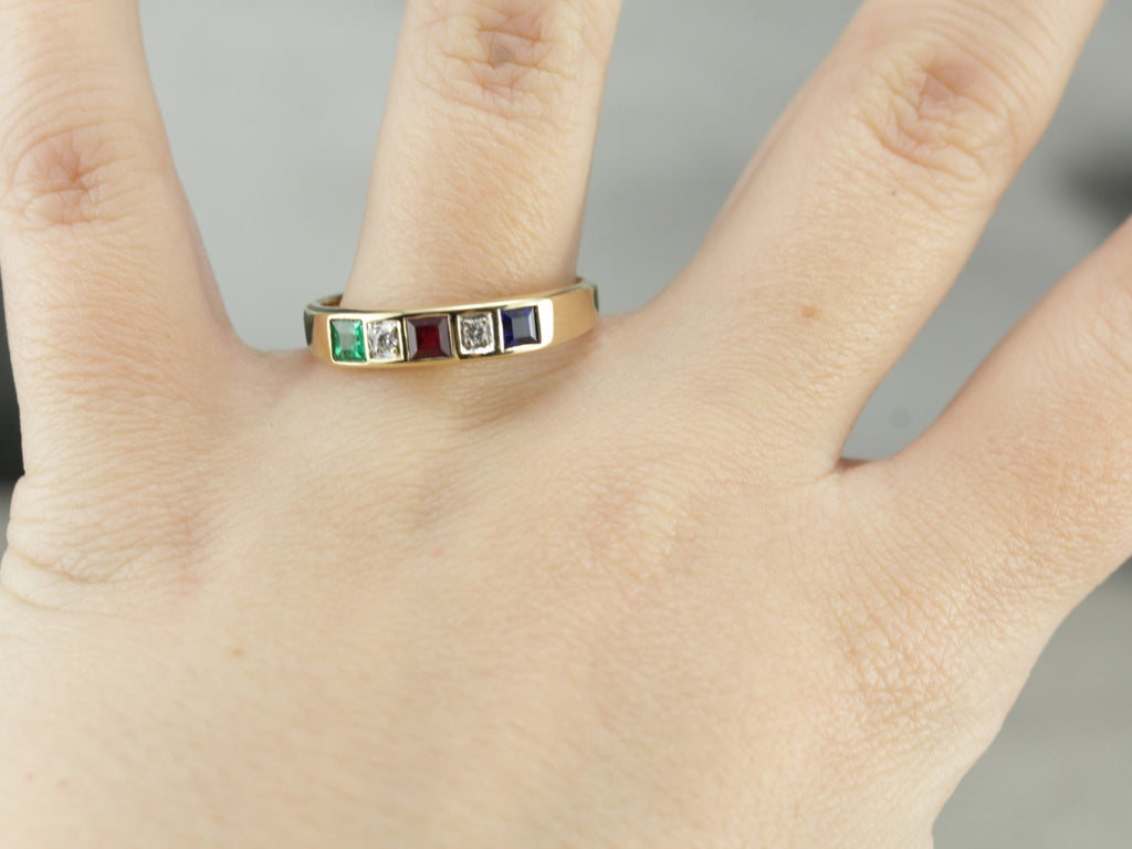 Multi-Gemstone Band in Yellow Gold