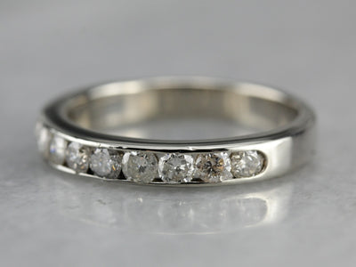 0.80 Carat Channel Set Diamond Band in White Gold