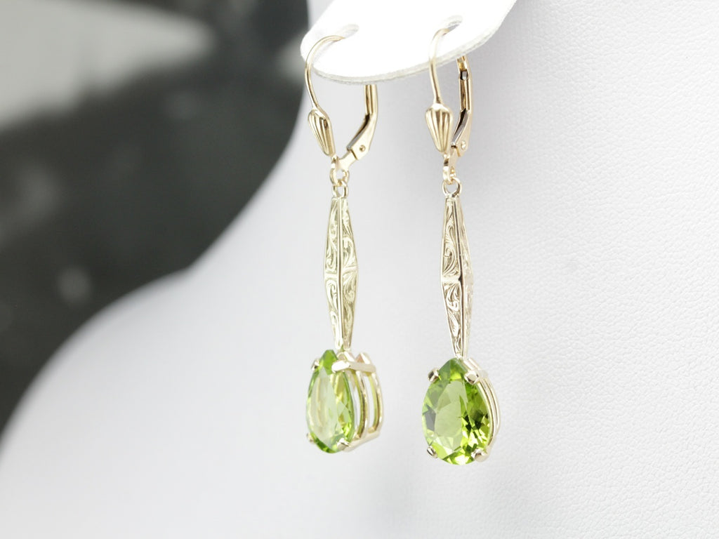 Teardrop Peridot Drop Earrings