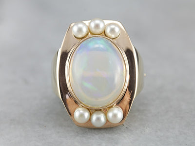Opal and Pearl Cocktail Ring