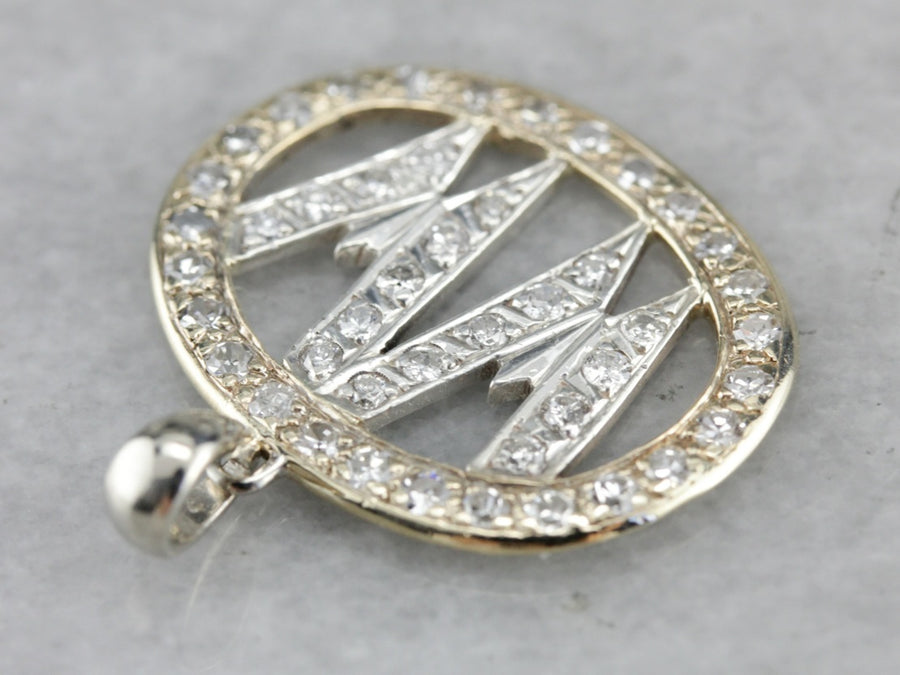 """WW"" Diamond Monogram Pendant"