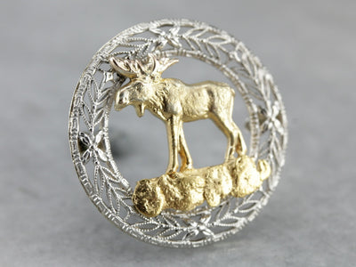 Golden Filigree Moose Pin