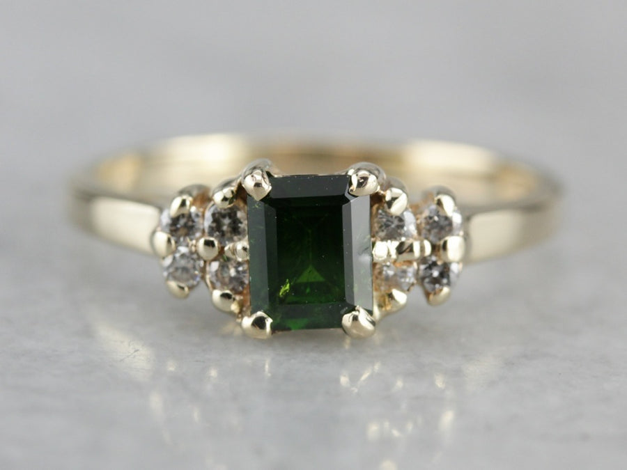 Demantoid Garnet and Diamond Ring
