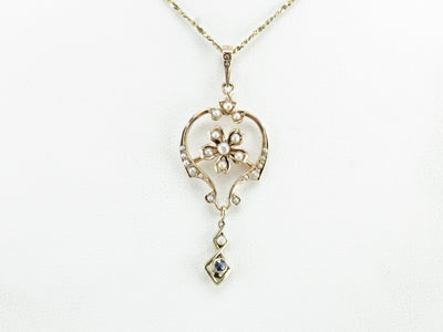Seed Pearl and Sapphire Pendant