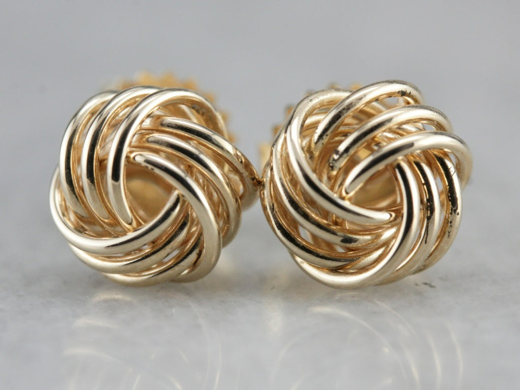 Gold Lover's Knot Stud Earrings