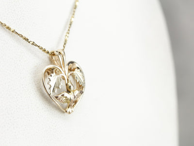 Gold Heart and Bird Pendant