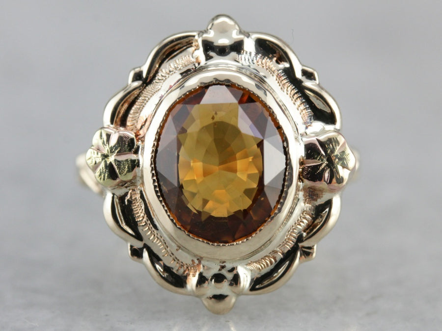 Mid Century Citrine Ring