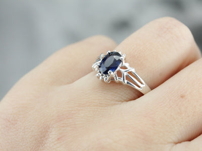 Sterling Silver Sapphire Solitaire Ring