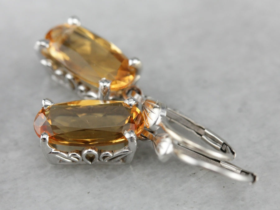 White Gold Citrine Drop Earrings