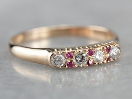 Vintage Diamond and Ruby Band