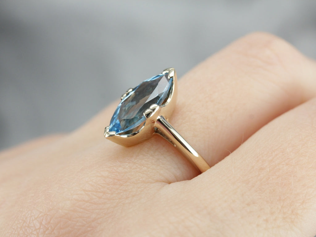 Marquise Blue Topaz Statement Ring