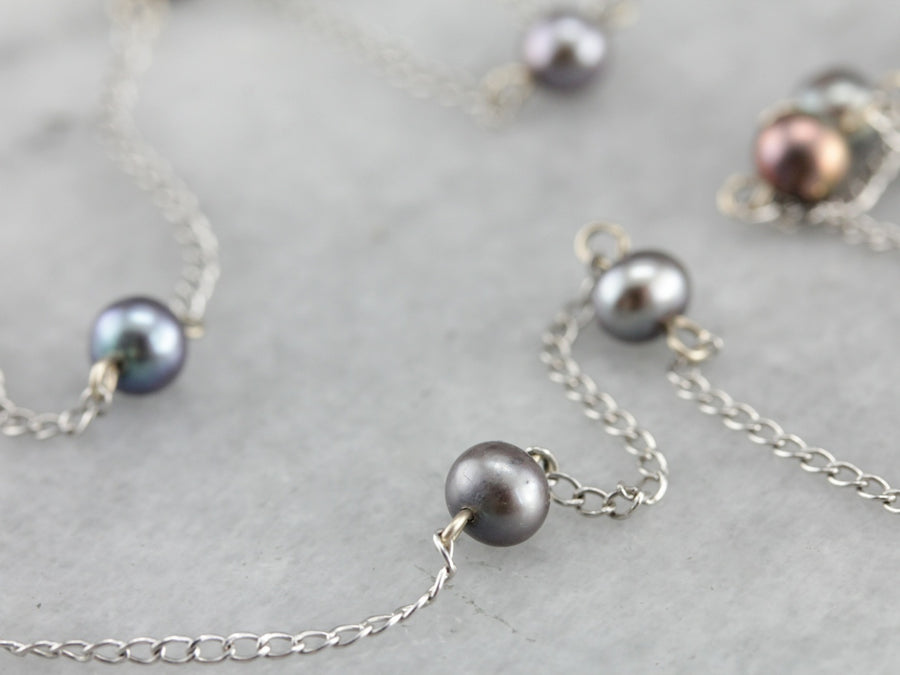 Grey Freshwater Pearl Station Necklace