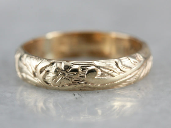 Antique Floral Wedding Band