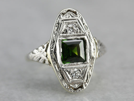 Art Deco Green Tourmaline Ring