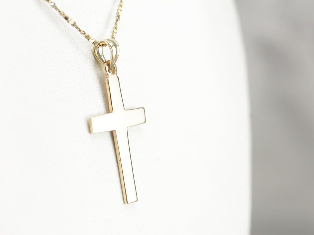 Unisex Yellow Gold Cross