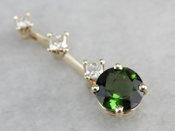 Green Tourmaline and Diamond Pendant