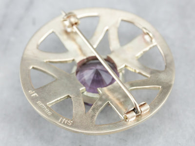 Yellow Gold Amethyst Brooch or Pendant