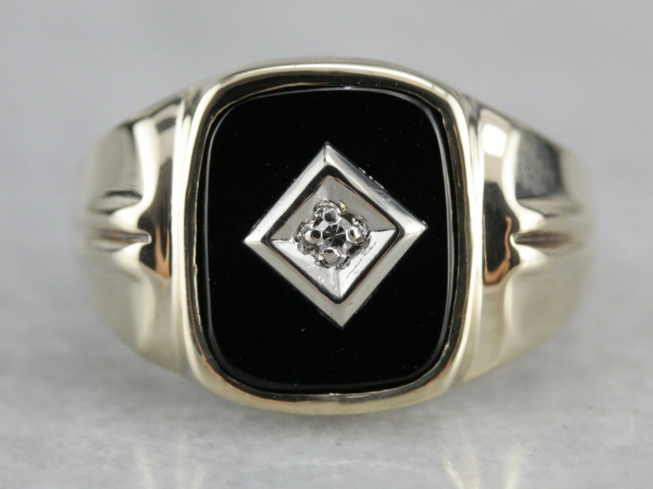 Retro Black Onyx and Diamond Ring
