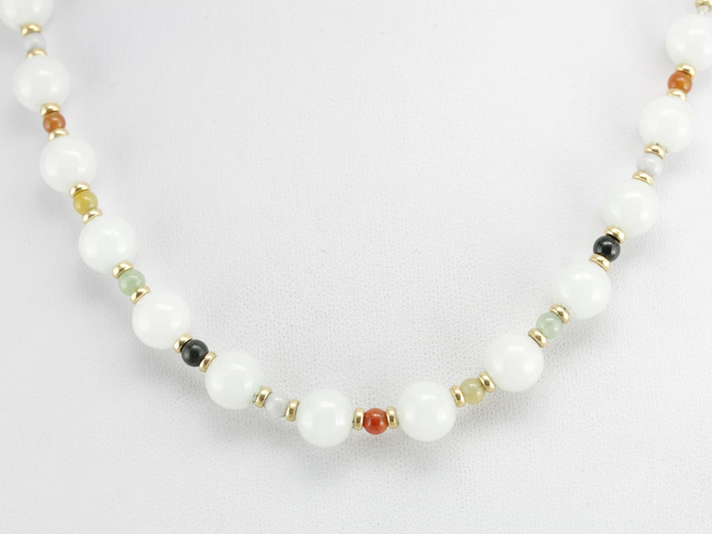 Vintage Jade and Gold Beaded Necklace