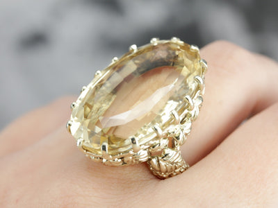 Green Gold Citrine Statement Ring