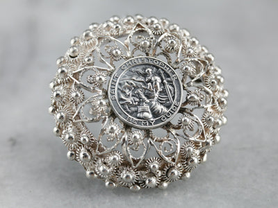 Saint Christopher Filigree Pin