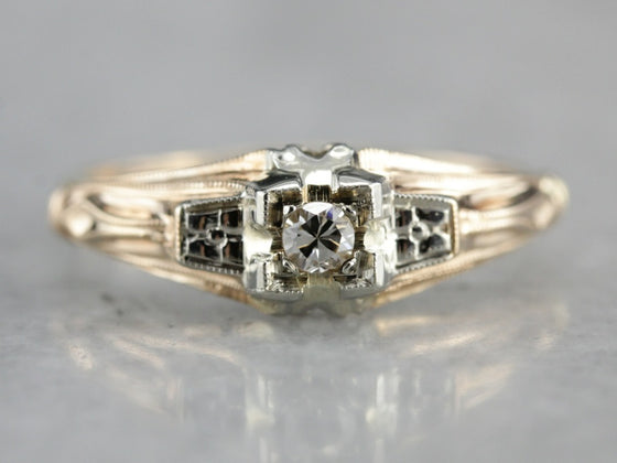 Retro Era Diamond Two Tone Engagement Ring
