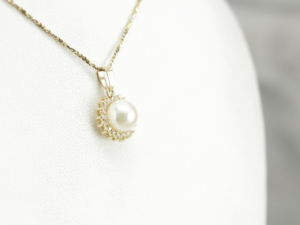 Pearl Diamond Halo Gold Pendant