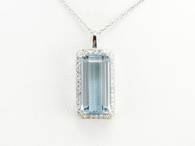 Platinum Aquamarine Cocktail Pendant