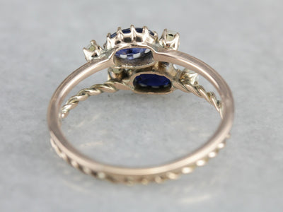 Double Sapphire and Seed Pearl Stacking Ring