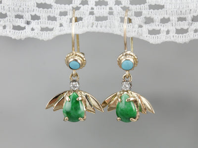 Vintage Jade Diamond and Turquoise Drop Earrings
