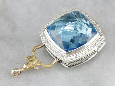 Blue Topaz and Diamond Statement Pendant