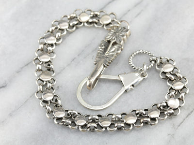 Floral Silver Pocket Watch Chain