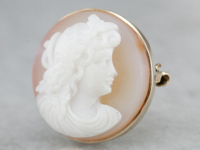 Vintage Circle Cameo Brooch