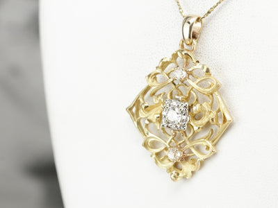 Mix Metal Diamond Filigree Pendant