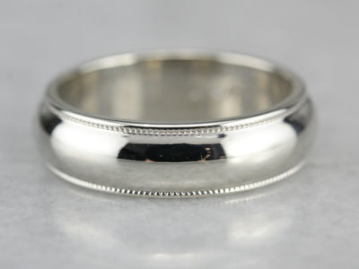 Unisex White Gold Wedding Band