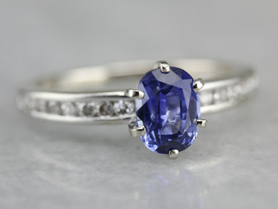 Sapphire Engagement Ring in White Gold