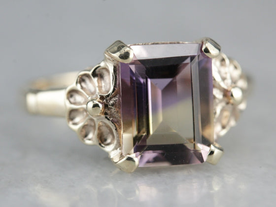 Floral Ametrine Solitaire Ring