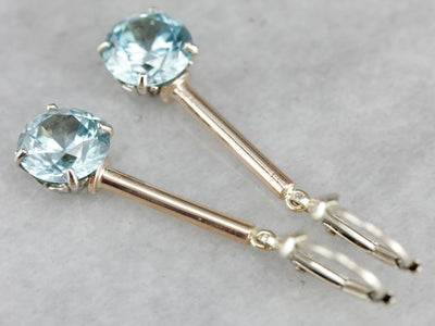 Long Blue Zircon Drop Earrings