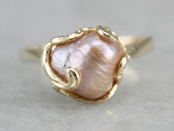 Pink Baroque Pearl Solitaire Ring