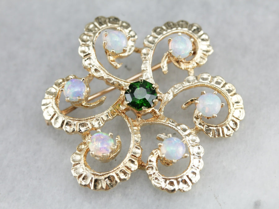 Vintage Demantoid Garnet and Opal Brooch