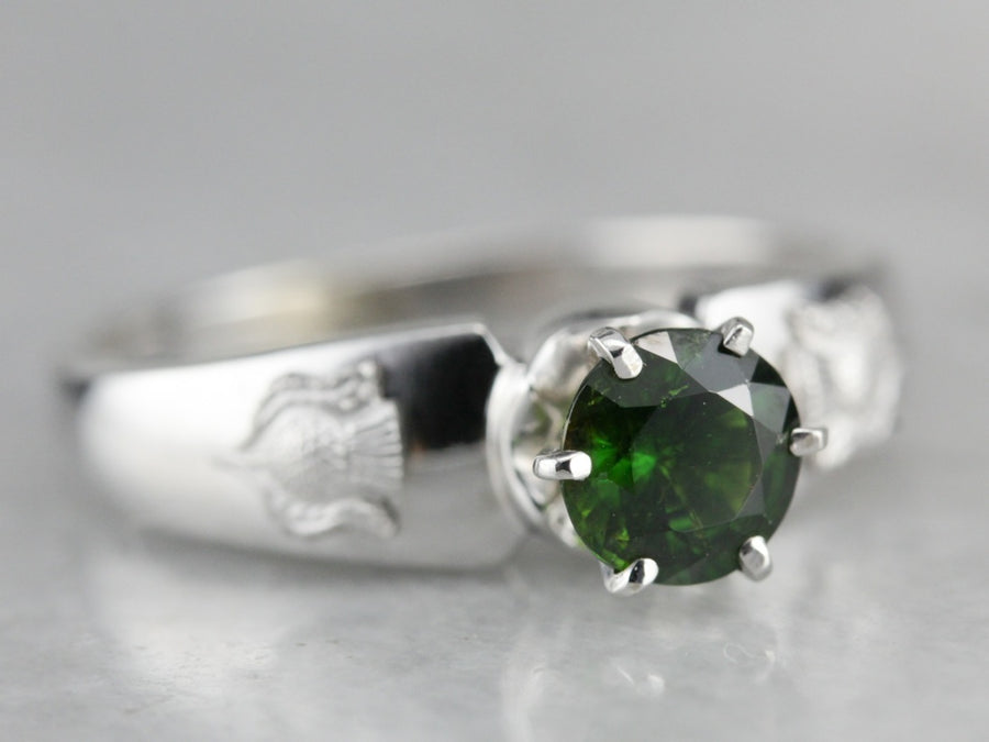 Demantoid Garnet Solitaire Ring