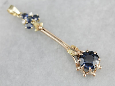 Spinel Sapphire and Diamond Pendant